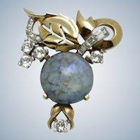 MAZER BROS Blue Art Glass Cabochon Rhinestone Brooch