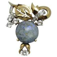 MAZER BROS Blue Art Glass Cabochon Rhinestone Brooch