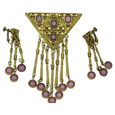 GOLDETTE Amethyst Dangle Brooch & Earrings SET
