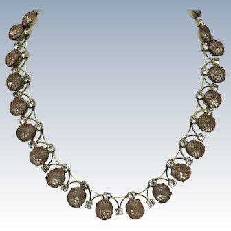 KRAMER of NY 1950s  Rhinestone Mesh Choker Necklace Hard to Find
