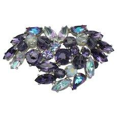 Signed SCHIAPARELLI Purple Vitrail Rhinestone Brooch Pin Gorgeous