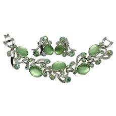 Signed SELRO Green Moonglow Glass Cabochon Bracelet Earring SET