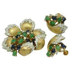 1950s Rare JOMAZ  Emerald Sapphire Rhinestone Floral Brooch Earrings Set