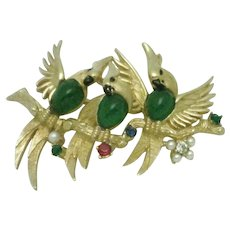 BOUCHER Triple Parrot's of Paradise Bird Figural Brooch Pin