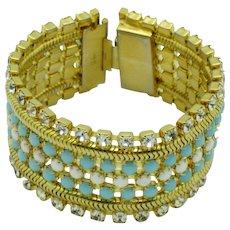 Wide HOBE Vintage Bracelet Turquoise White Beaded Rhinestone