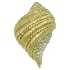 JOMAZ  Crystal Rhinestone Seashell Sea Shell Figural Brooch