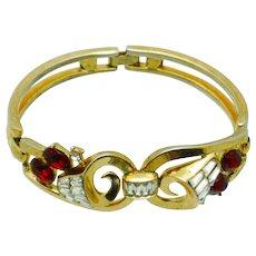 CROWN TRIFARI 1950s Pat Pending Bracelet Ruby Rhinestones Baguettes