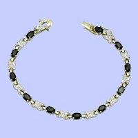 Gorgeous Dark Sapphire  Crystal Gold Plated Tennis Bracelet