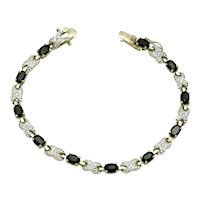 Gorgeous Dark Sapphire  Crystal Gold Plated Tennis Bracelet