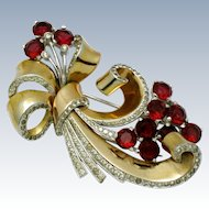 MB BOUCHER Pave Rhinestone Ruby Crystal Ribbon Bow Pin Clip