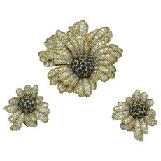 JOMAZ Vintage Figural Flower Brooch Earrings SET