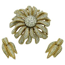 Early CINER Rhinestone Brooch & Earrings Figural Flower SET