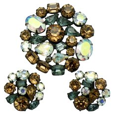 Vintage 1950s Signed WEISS Aurora Borealis Brooch Earring SET