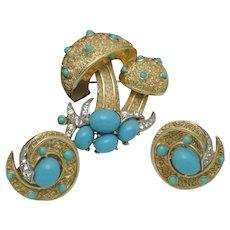 CROWN TRIFARI 1960S Mushroom Toadstool Brooch and Earrings SET