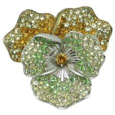 BOUCHER Pansy Figural Brooch Green Yellow Gold Rhinestone Gorgeous