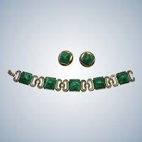 CROWN TRIFARI Vintage Art Glass Link Bracelet Earrings SET