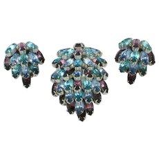 Vintage WEISS  Waterfall Dress Clip Pin Earring SET Signed Weissco