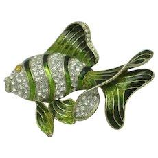 Fabulous Large Fish Figural Brooch Green Metallic Enamel Rhinestones