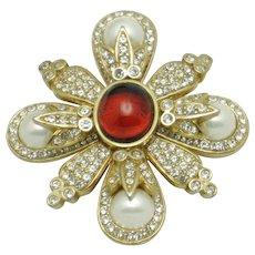 Vintage CINER Brooch and Pendant Glass Pearl Ruby Crystal