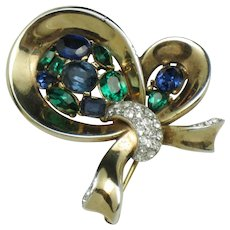 Vintage 1950s  CROWN TRIFARI 'Jeweled Symphony'  Bow Brooch Pin