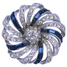 BOUCHER Swirled Sapphire Baguette Rhinestone Pin Brooch