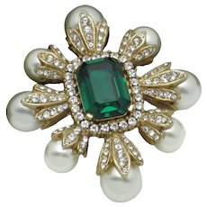 CINER  Emerald Crystal  Glass Pearl Figural Cross Brooch Pin