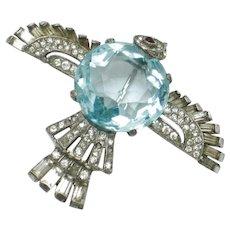 CROWN TRIFARI Sterling Aqua Crystal Figural Bird Brooch Pin
