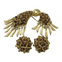 JOMAZ Rhinestone Gold Plated  Brooch and Clip Earring SET