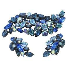Vibrant REGENCY Blue Art Glass Rhinestone Brooch and Earrings SET
