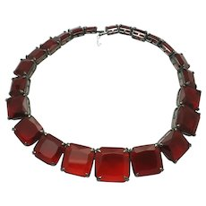 Vibrant  Red Glass  Couture Statement Choker Necklace