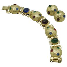 Vintage Bookchain Link Bracelet and Earring SET Ruby Sapphire Emerald Glass