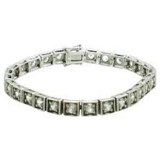 ART DECO Sterling 925 D Clear Crystal Line Bracelet