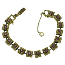 GOLDETTE NY Amethyst Gold Plated Rhinestone Bracelet