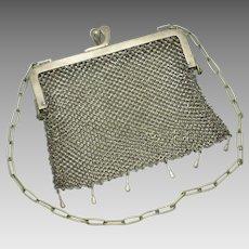 German Silver 1890s HH CURTIS Victorian Chainmail Mesh Handbag