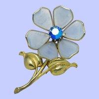 TRIFARI  Alfred Philippe Blue Poured Glass Figural Flower Clip Pin