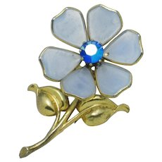 TRIFARI  Alfred Philippe Blue Poured Glass Figural Flower Clip Pin