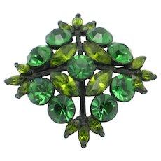 EDLEE Emerald and Peridot Green Rhinestone Japanned Maltese Cross