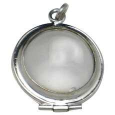 Sterling Art Deco POOLS of LIGHT  Locket  - Locket Opens Hallmarked