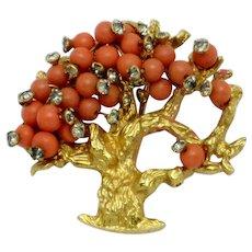 HATTIE CARNEGIE Coral Beaded Tree of Life Brooch