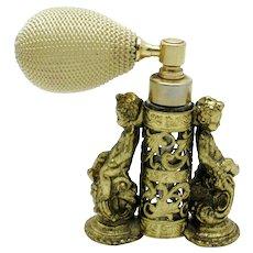 GLOBE 1930s Puffer Atomizer Ormolu Cherub Perfume Bottle 24K Gold Plated
