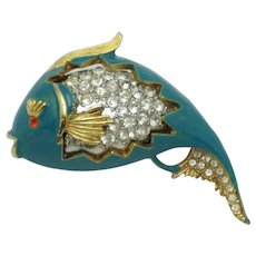 SPHINX England Figural Fish Brooch Metallic Teal Enamel Rhinestone Pin