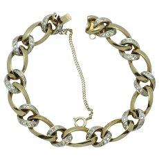 Signed PANETTA Vintage Rhinestone Gold Plated Link Bracelet
