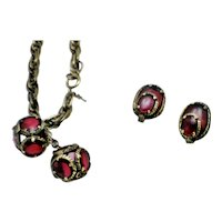 CROWN TRIFARI Poured Glass Renaissance Bracelet and  Earrings Set