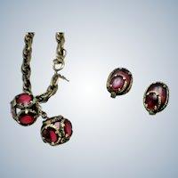CROWN TRIFARI Poured Glass Renaissance Bracelet and  Earrings Set