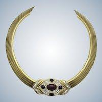 Vintage CINER Flex Jewelled Collar Necklace with Slide Pendant