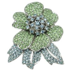 Vintage  CINER Rhinestone Figural Floral Flower Pin Brooch