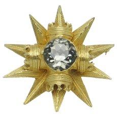 Signed BENEDIKT NY Star & Crown  Brooch Pin/Pendant