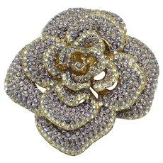 Vintage CINER Lilac Rhinestone Figural Rose Flower Brooch Pin