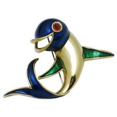 Vintage BOUCHER Enamel  Figural Dolphin Fish Brooch Pin