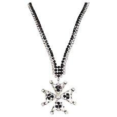 Vintage Rare BUTLER WILSON Maltese Cross Rhinestone Necklace